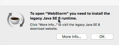 Webstorm legacy Java 1.6 issue message popup